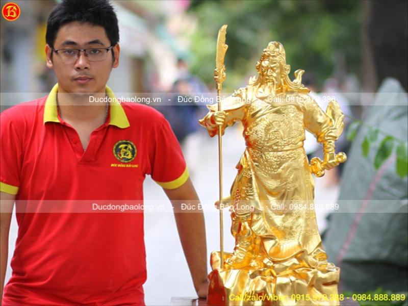 Tượng Quan Công Đồng Dát Vàng 9999 Cao 70cm