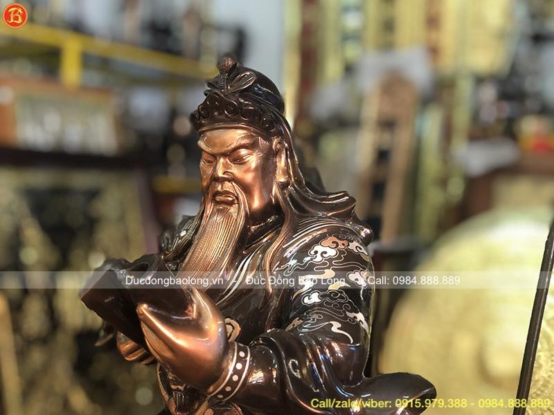 Tượng Quan Công Ngồi Bằng Đồng Khảm Tam Khí 48cm
