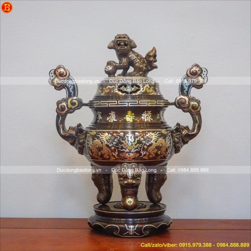 Đỉnh Đồng Thờ Khảm Tam Khí 1 Chữ Vàng 45cm