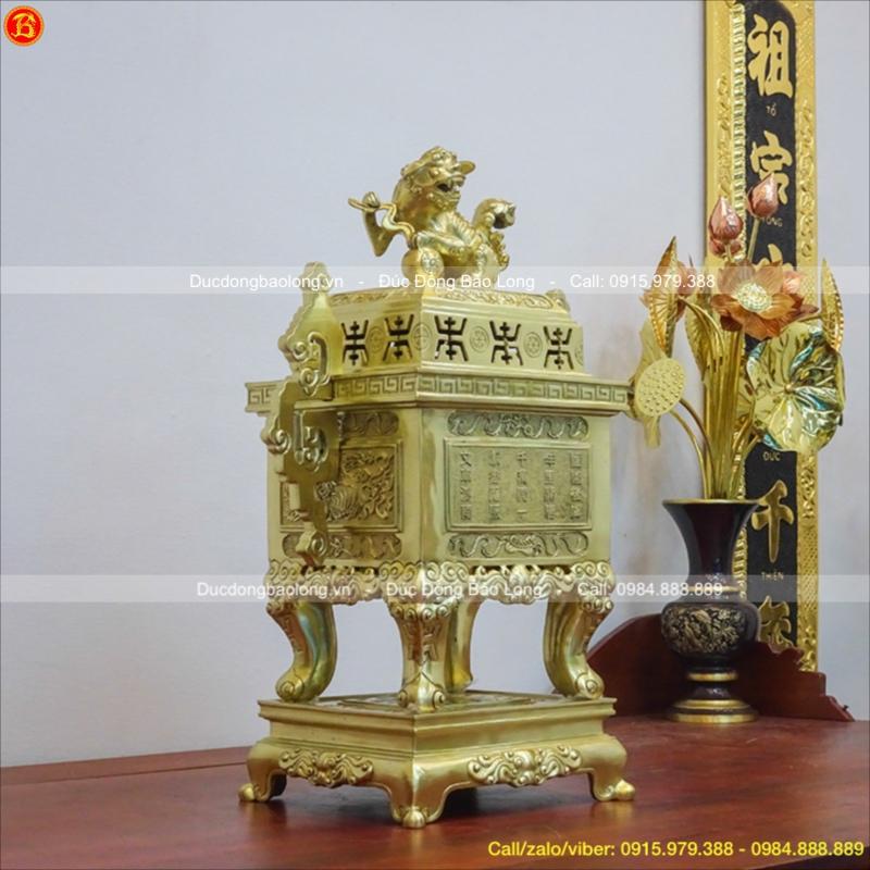 Đỉnh Vuông Đồng Cát Tút Tai Triện Cao 60cm
