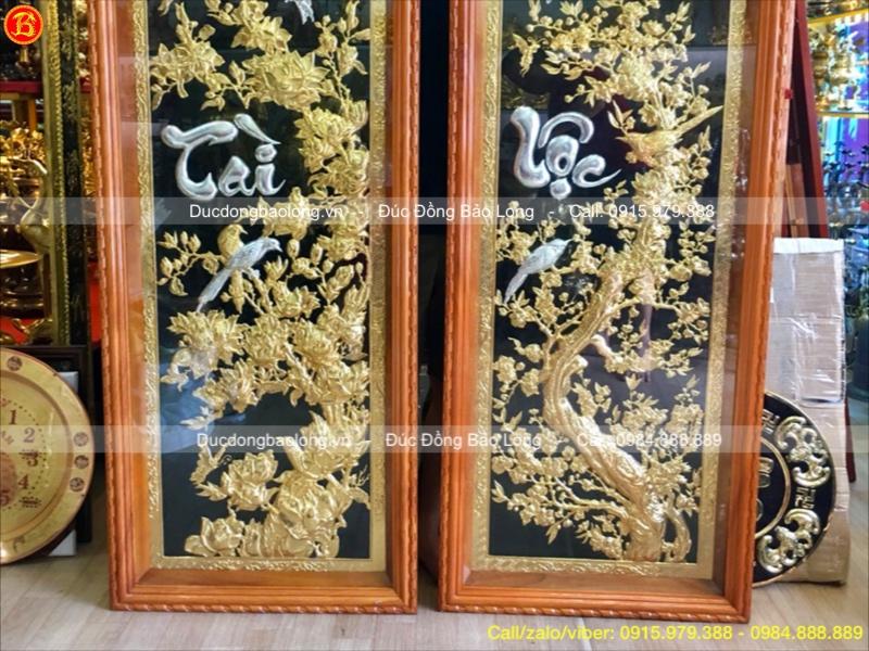 Tranh Đồng Chữ Tài Lộc Mạ Vàng Dát Bạc 1m55