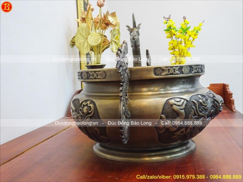 Lư Hương Bằng Đồng Tai Rồng Giả Cổ 40cm