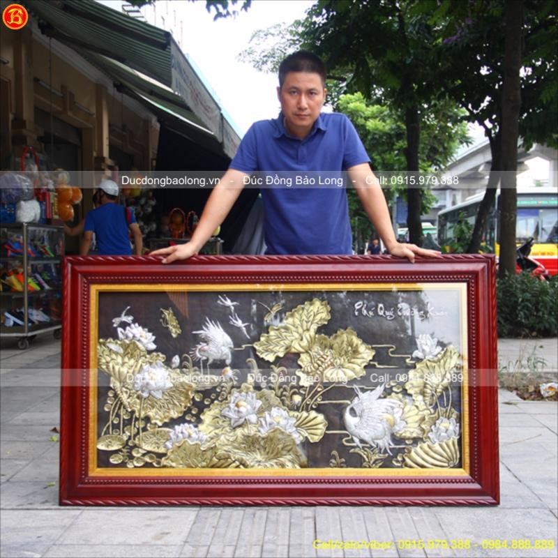 Tranh Đồng Sen Hạc Phú Quý Trường Xuân 1m55