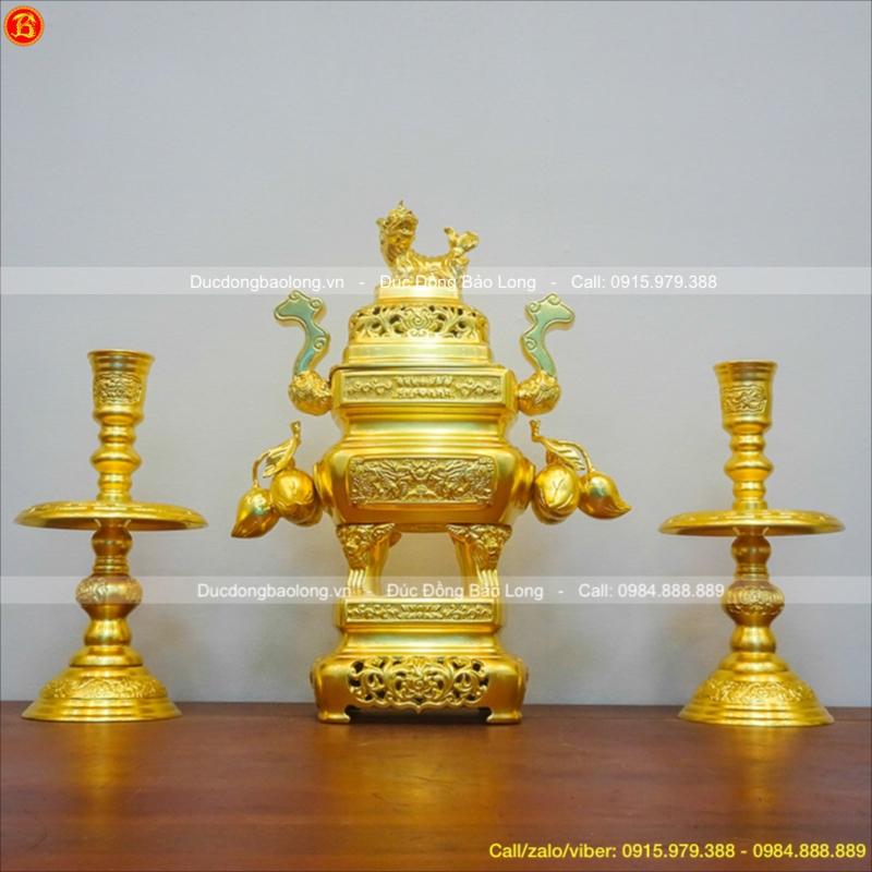 Bộ Tam Sự Đỉnh Vuông Dát Vàng Trái Đào 45cm