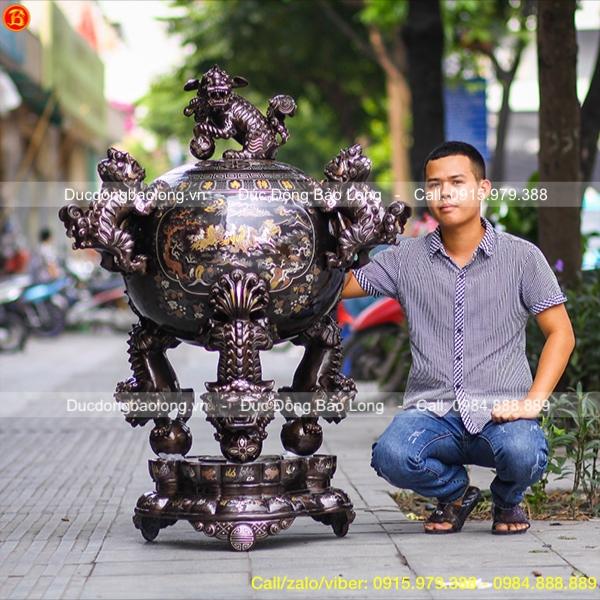 Đỉnh Đồng Trang Trí Phòng Khách Thất Lân 1m35