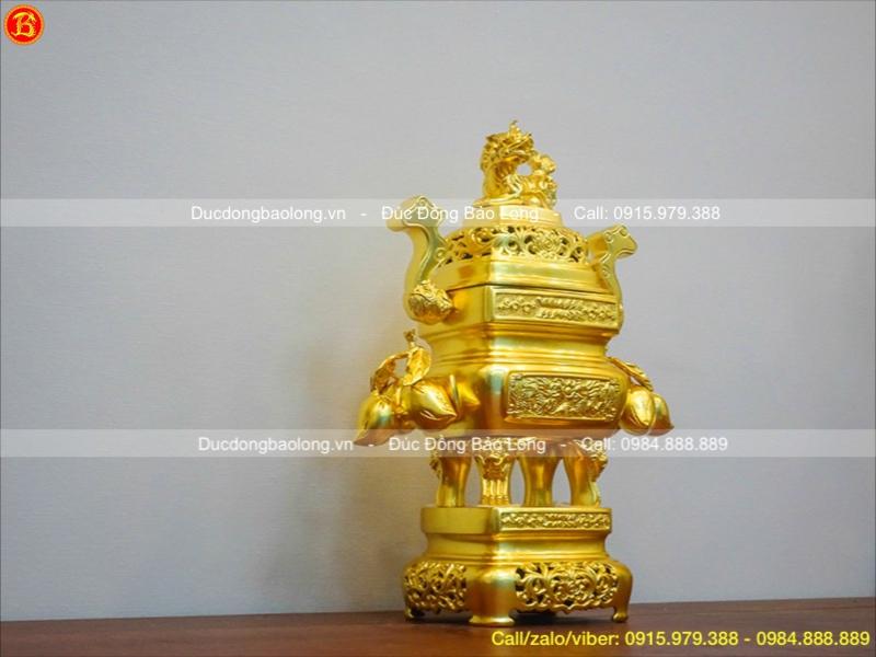 Đỉnh Vuông Trái Đào Dát Vàng Cao 45cm