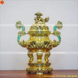 đỉnh thờ rồng nổi đồng vàng