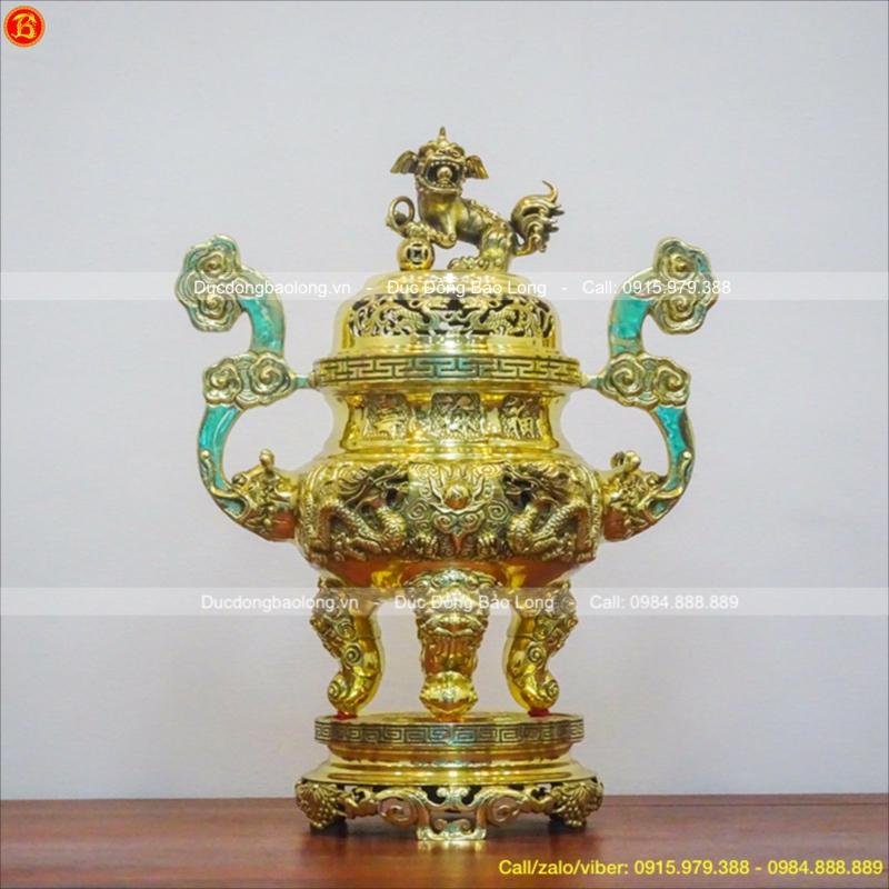 Đỉnh Thờ Rồng Nổi Đồng Vàng Bóng Cao 60cm