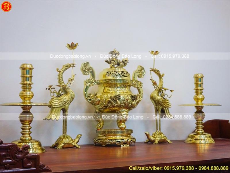 Bộ Ngũ Sự Đỉnh Rồng Vàng Đánh Bóng Cao 60cm