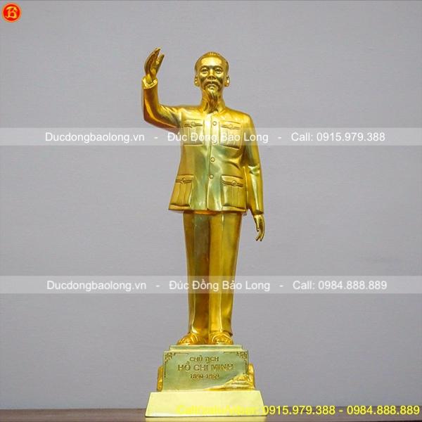 Tượng Đồng Bác Hồ Đứng Dát Vàng Vẫy Tay Chào 48cm