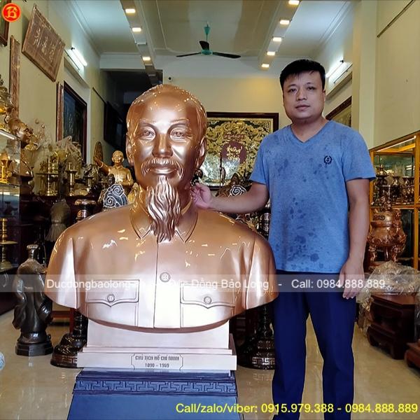 Tượng Hồ Chí Minh Bằng Đồng Bán Thân Cao 1m1