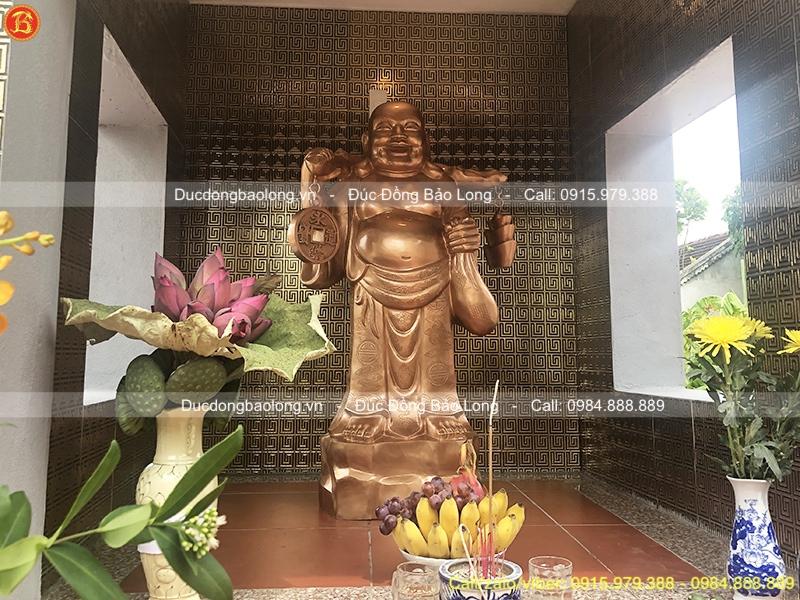 Tượng Phật Di Lặc Đứng Gánh Tiền Cao 1m27 Đồng Đỏ