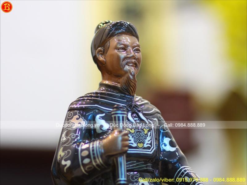 Tượng Đồng Trần Hưng Đạo Khảm Tam Khí Điểm Vàng Cao 42cm