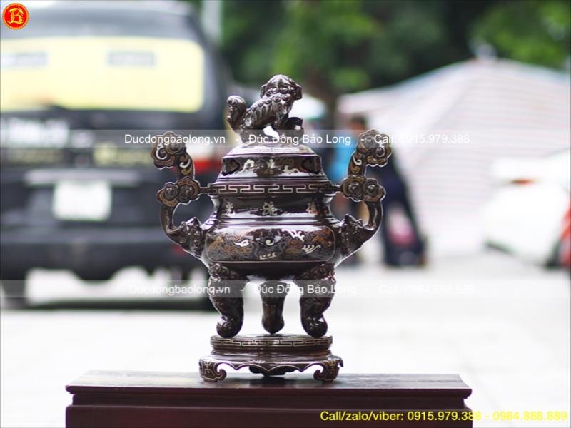 Lư Đồng Thờ Cúng Khảm Tam Khí Cao 60cm