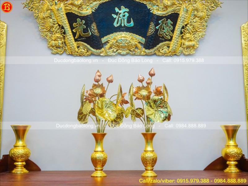 Lọ Hoa Bát Tiên Bằng Đồng Dát Vàng Cao 30cm