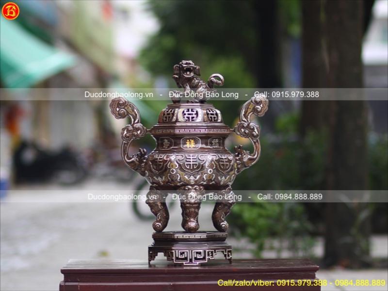 Lư Đồng Bát Giác Khảm Tam Khí Cao 60cm