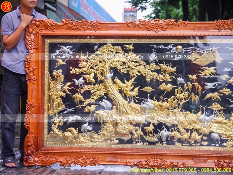 tranh đồng bách hạc quần tùng khung gỗ