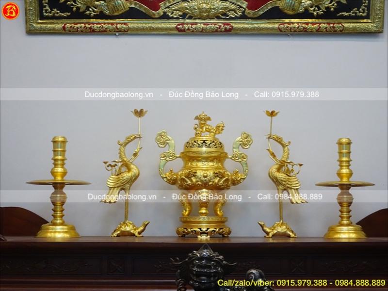 Bộ Ngũ Sự Bằng Đồng Dát Vàng Rồng Nổi Cao 60cm