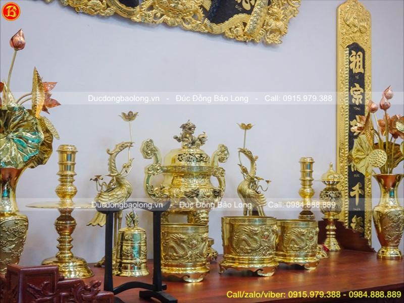 Bộ Lư Đồng Thờ Cúng Vàng Bóng Rồng Nổi Cao 60cm