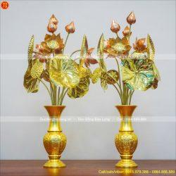 lọ hoa bát tiên bằng đồng dát vàng