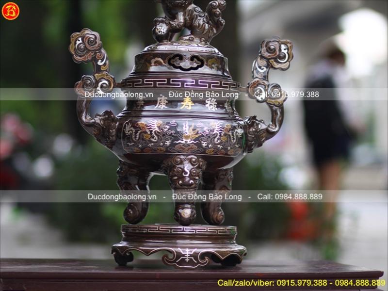 lư thờ bằng đồng khảm tam khí