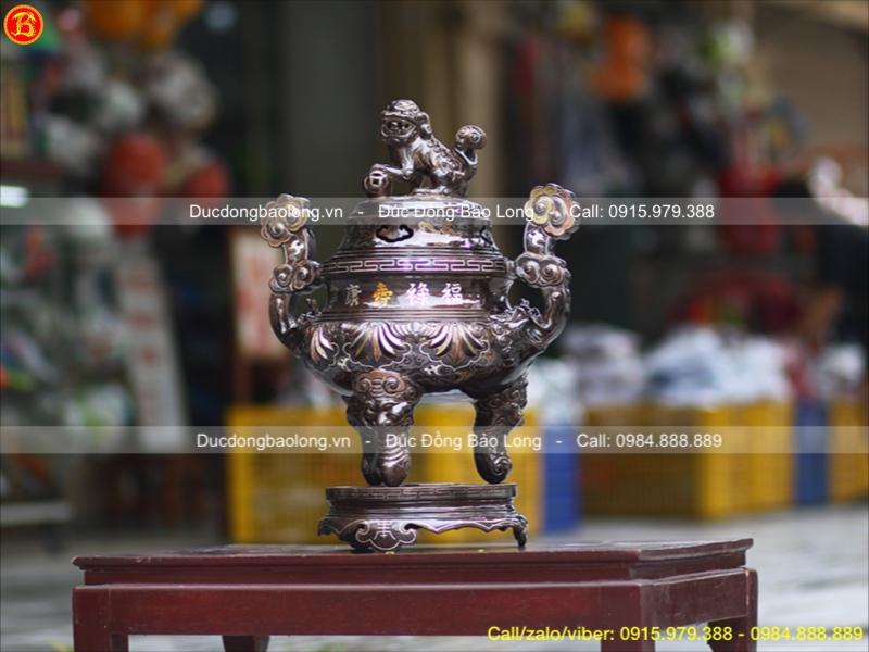 Đỉnh Sòi Đồng Đỏ Khảm Tam Khí 1 Chữ Vàng Cao 50cm