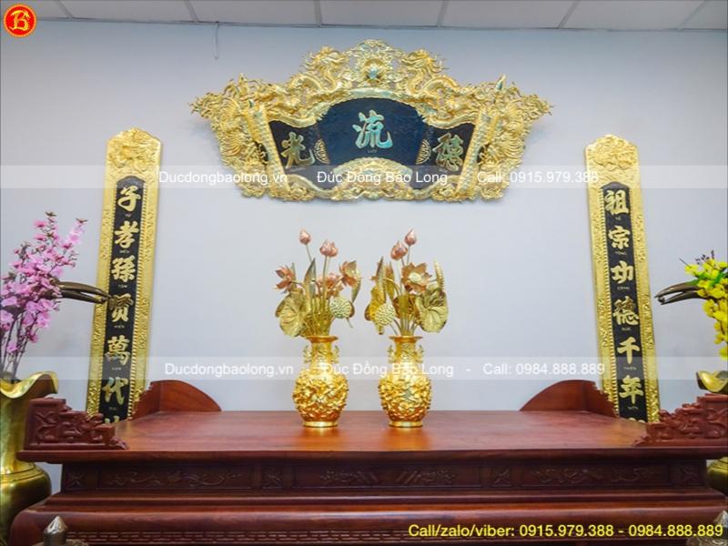 Lọ Hoa Mẫu Đơn Dát Vàng Phú Quý Cao 32cm