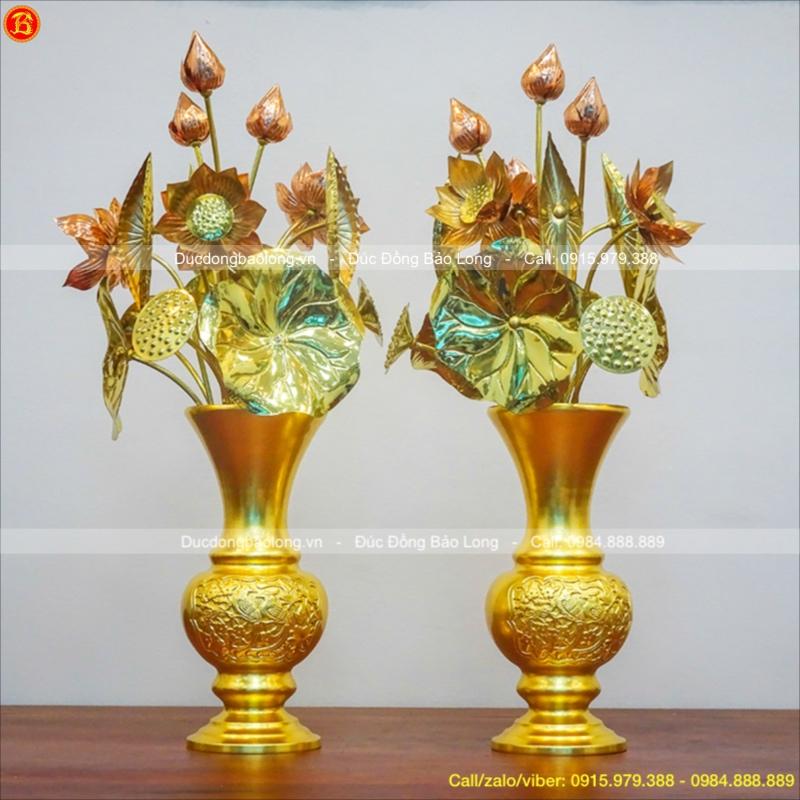 Lọ Hoa Bằng Đồng Dát Vàng Cao 33cm