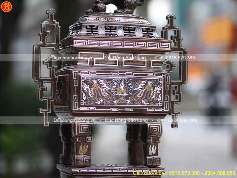 Lư Đồng Vuông Khảm Tam Khí Tai Triện Cao 60cm