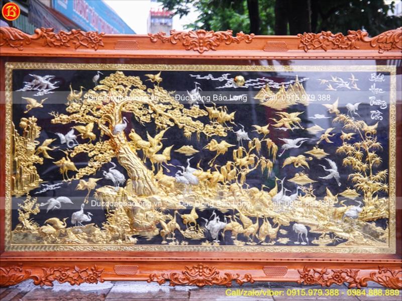 Tranh Đồng Bách Hạc Quần Tùng Khung Gỗ Mạ Vàng
