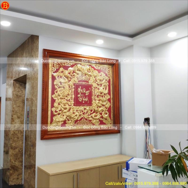 Tranh Đồng Cửu Long Hưng Thịnh Mạ Vàng 1m33
