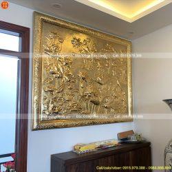 tranh hoa sen bằng đồng mạ vàng