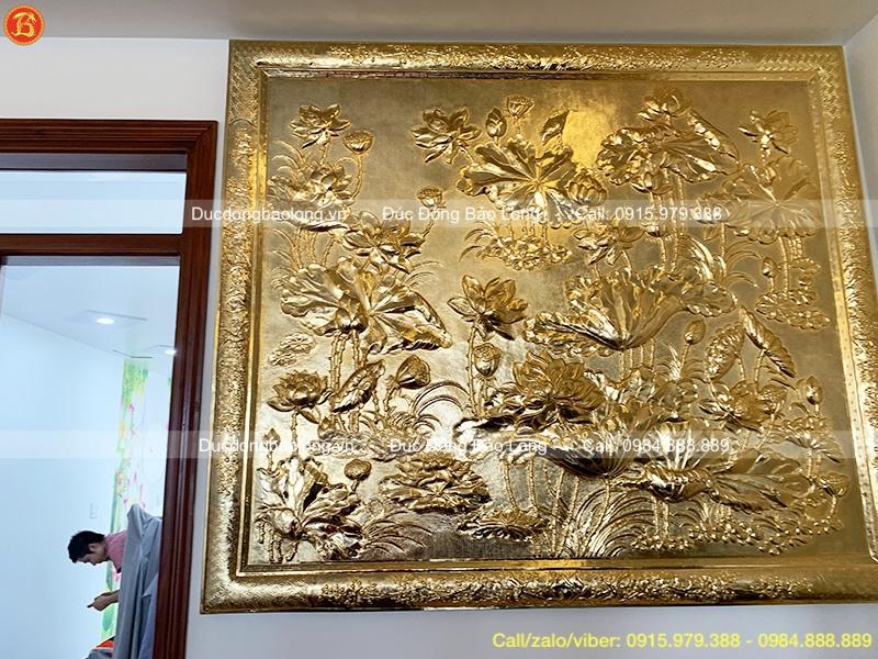 Tranh Hoa Sen Bằng Đồng Mạ Vàng 1m47x1m27