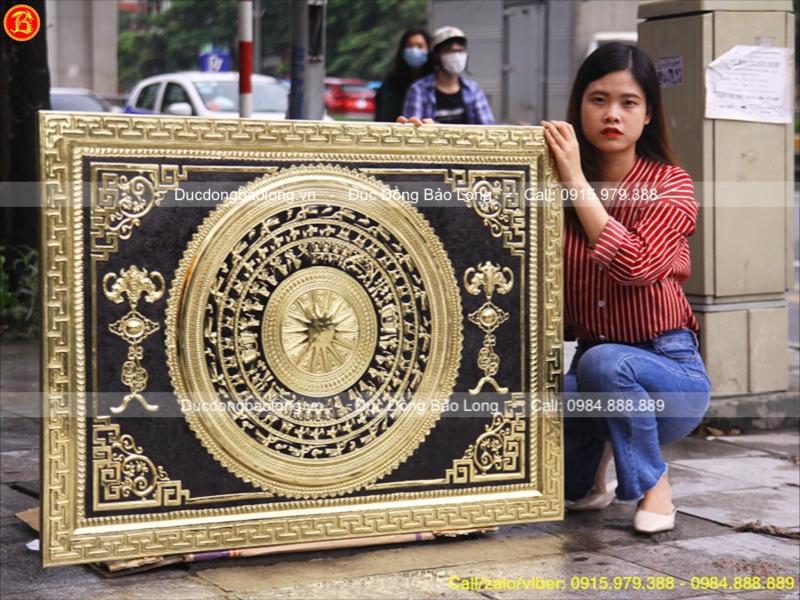 Tranh Mặt Trống Đồng Khung Đồng Đông Sơn 1m27x81cm