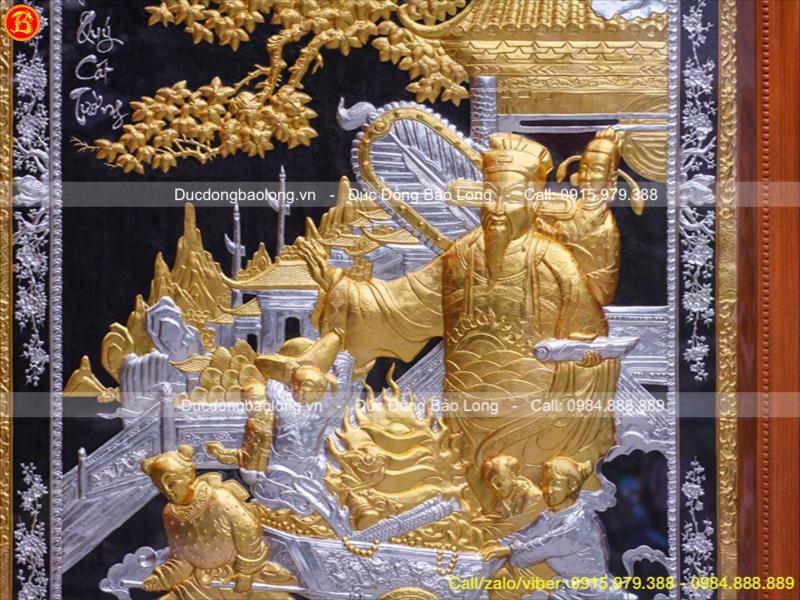 Tranh Đồng Phú Quý Cát Tường Dát Vàng Bạc 1m97x1m47