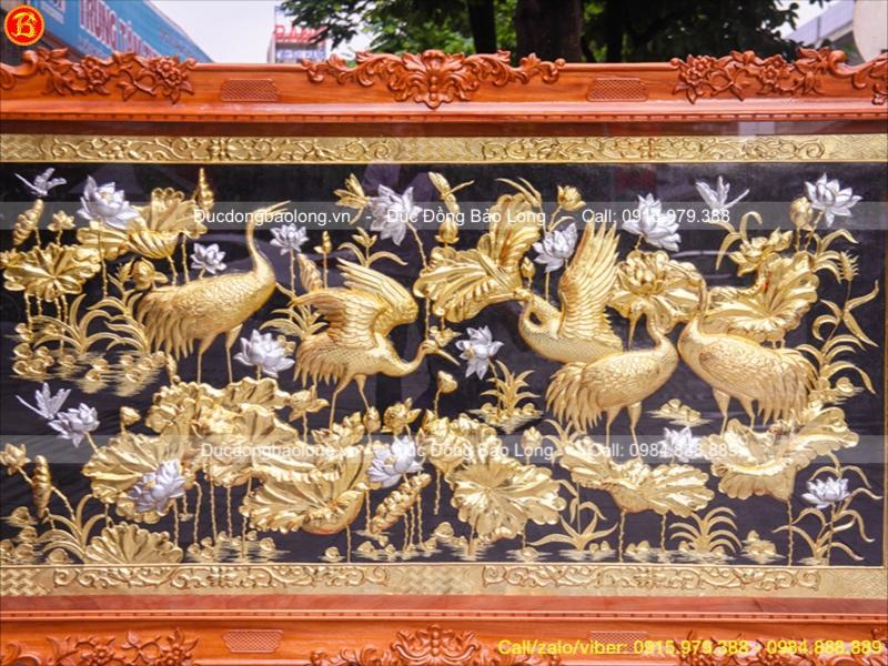 Tranh Đồng Sen Hạc Mạ Vàng Dát Bạc 2m37x1m33