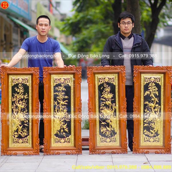 Tranh Tứ Quý Bằng Đồng Mạ Vàng 1m07x46cm