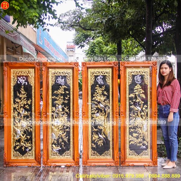 Tranh Đồng Tứ Quý Mạ Vàng Dát Bạc 1m55x55cm