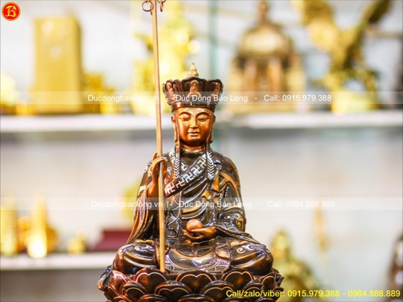 Tượng Đồng Địa Tạng Khảm Tam Khí Cao 48cm