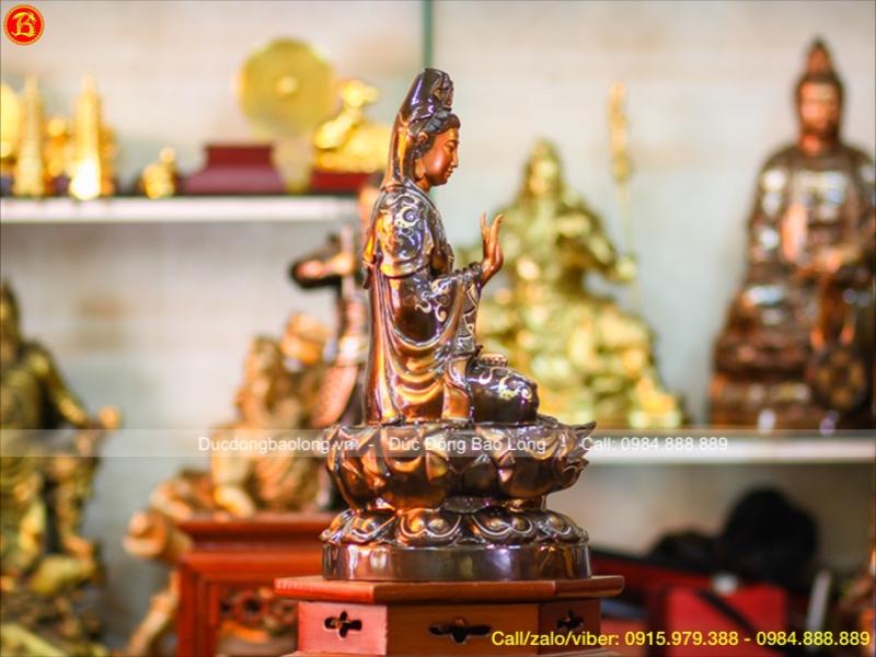 Tượng Phật Bà Ngồi Đài Sen Khảm Tam Khí Cao 48cm