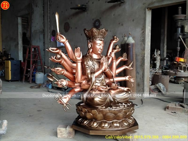 Tượng Phật Chuẩn Đề Bằng Đồng Đỏ 18 Tay Cao 1m17