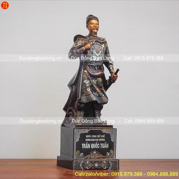 Tượng Đồng Trần Hưng Đạo Khảm Tam Khí Cao 42cm