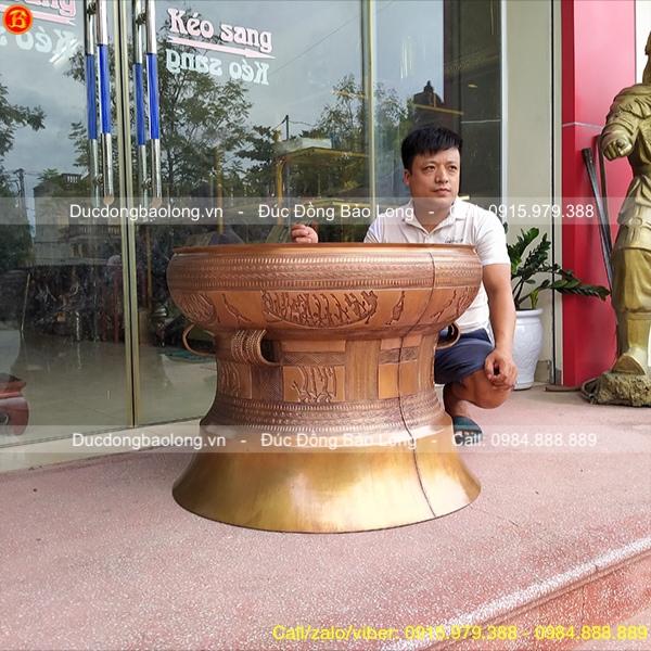 Quả Trống Đồng Ngọc Lũ Tinh Xảo Đường Kính 80cm