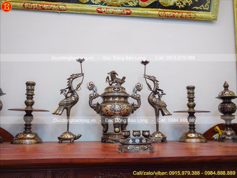 Bộ Đồ Thờ Bằng Đồng Khảm Tam Khí Cao 50cm