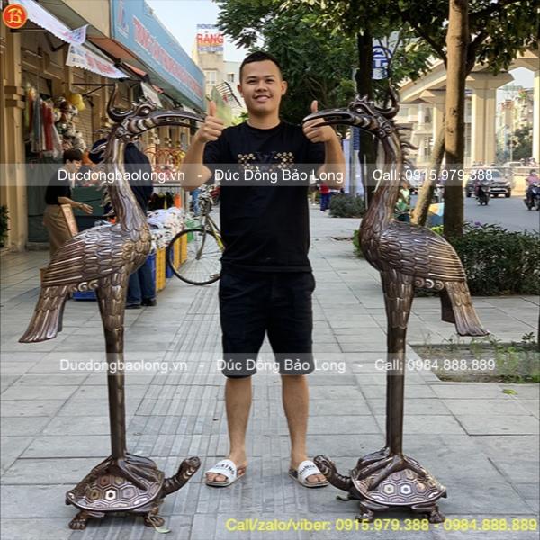 Đôi Hạc Đồng Khảm Tam Khí Cỡ Lớn 1m55