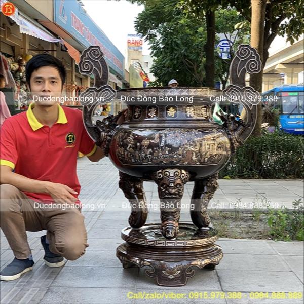Lư Hương Đồng Khảm Vàng Bạc Cao 1m17