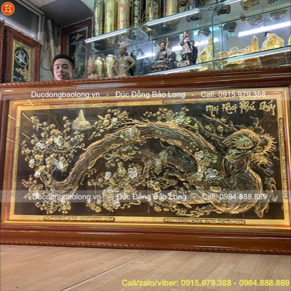 Tranh Đồng Mai Khai Phú Quý Treo Phòng Khách 2m3x1m2