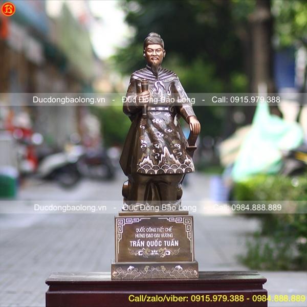 Tượng Đồng Trần Hưng Đạo Khảm Bạc Cao 81cm