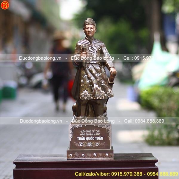 Tượng Đồng Trần Quốc Tuấn Khảm Bạc Cao 69cm