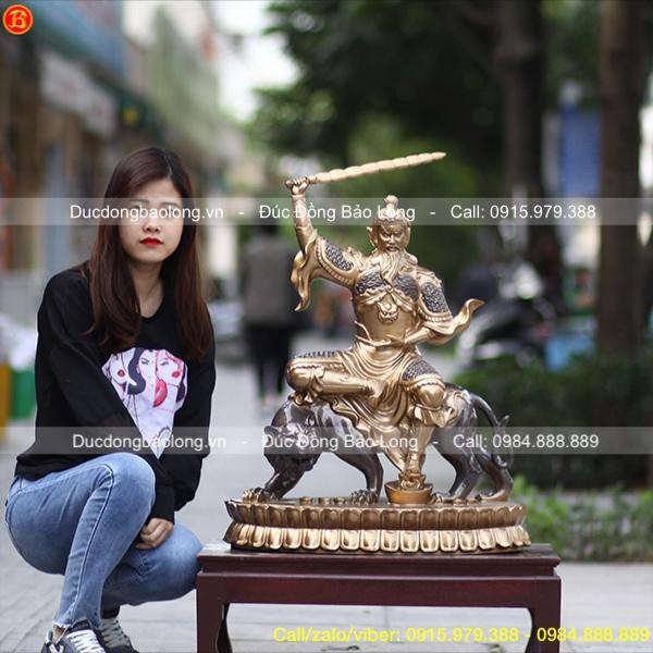Tượng Thần Tài Triệu Công Minh Đồng Đỏ Cao 61cm